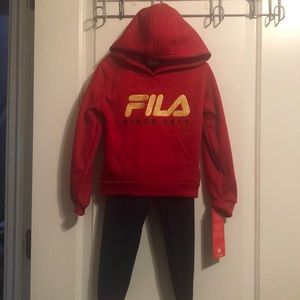 Girl's FILA 2pc activewear. Red/blue. Sz 4T